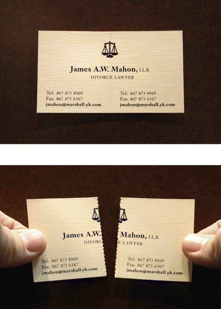James A.W. Mahon Divorce Lawyer business card   Communication Arts